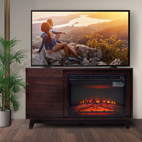 "HOMCOM Electric Fireplace TV Stand for TV Up to 50""  Home Living Room Wooden Media TV Stand Fireplace