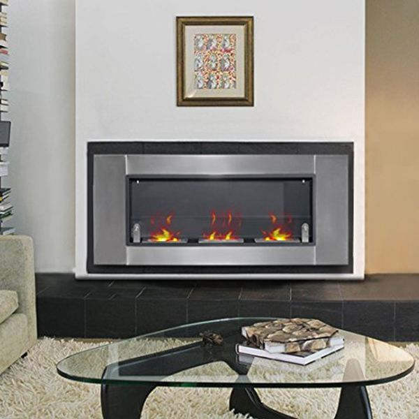 "HOMCOM 53.5"" Bio-Ethanal Wall Mounted Fireplace - Stainless Steel 