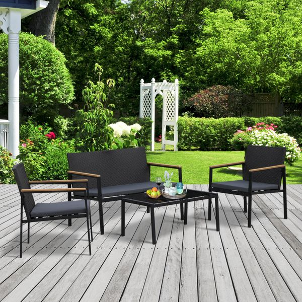 Outsunny 4-Piece Cushioned Outdoor Rattan Wicker Chair and Loveseat Furniture Set 4pc Patio Table | Aosom Canada