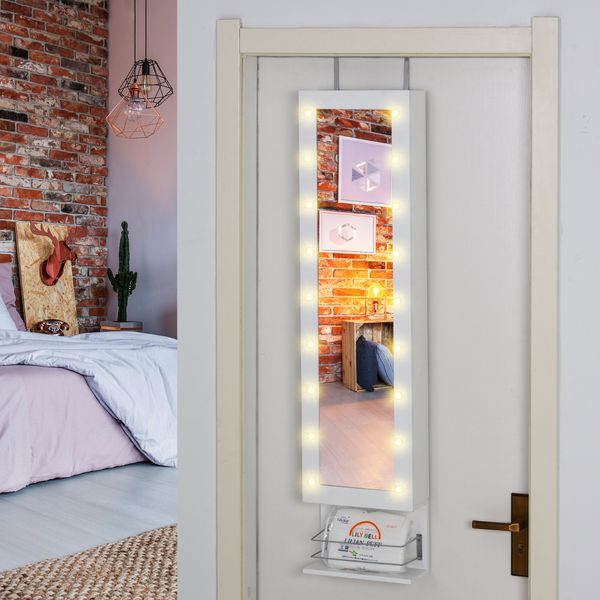 HOMCOM Jewelry Armoire with Mirror and 18 LED Lights Wall-Mounted Over-The-Door Hanging Jewelry Cabinet with 3 Adjustable Heights Wall/Door Mounted | Aosom Canada
