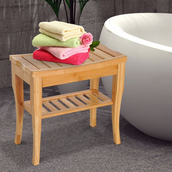 "HOMCOM 20"" Bamboo Shower Bench Storage Shelf