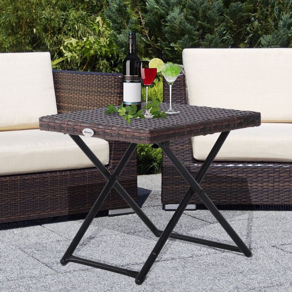 Outsunny Folding Square Rattan Coffee Table Bistro Garden Steel Outdoor