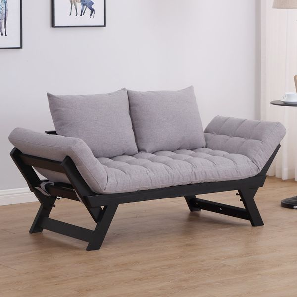 HOMCOM Convertible Sofa Bed Futon Loveseat Living Room with Pillow Grey|Aosom Canada