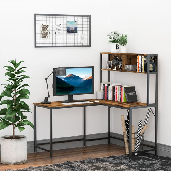 HOMCOM Home Office L-Shaped Computer Desk with Hutch and Storage Shelves, PC Table Study Writing Workstation with 2 Storage Compartments, Bookshelf, Brown Desk, | Aosom Canada