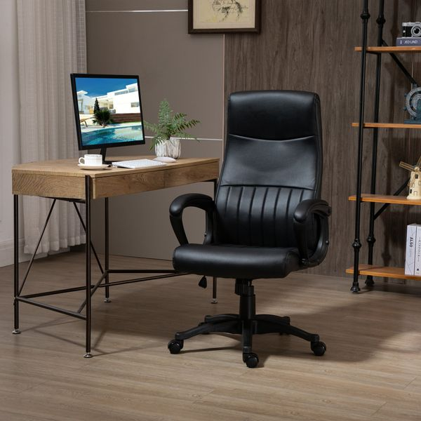 Vinsetto High Back Office Chair Swivel Executive PVC Leather Ergonomic Chair, Adjustable Height, Black   Aosom Canada