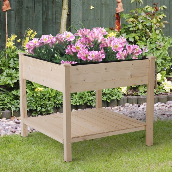 Outsunny Wooden Raised Flower Bed Outdoor Tall Planter Elevated Garden Plant Stand Box w/ Storage Shelf | Aosom Canada