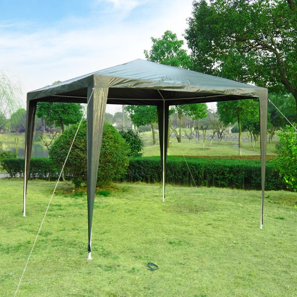 Outsunny 9x9ft Outdoor Gazebo Canopy Party Tent Portable Sunshade with Carrying Bag Dark Green | Aosom Canada