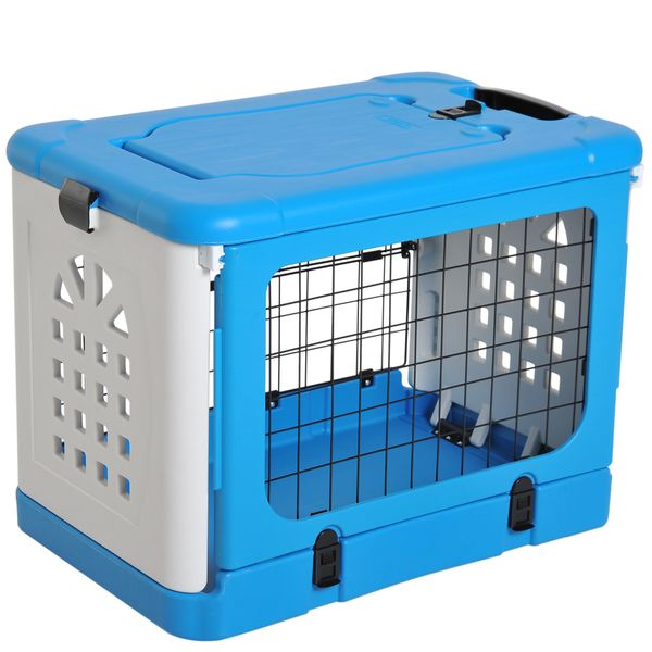 PawHut Foldable Cat Cage Flight Puppy Case Small Animal Travel Carrier Ventilation Hole w/ Top Load Pet Kennel Blue|Aosom Canada
