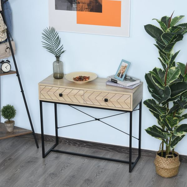 HOMCOM Industrial Elegance Side Table with 2 Storage Drawer End Table with Metal Base and Back X-Bar for Living Room Study Room Office | Aosom Canada