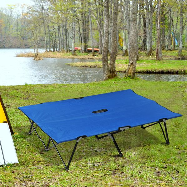 "Outsunny 76"" Two Person Double Wide Folding Camping Cot w/ Carrying Bag Blue