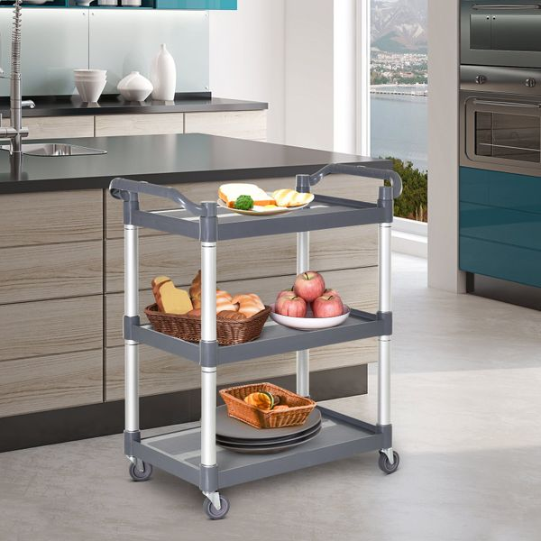 HOMCOM 3-Tier Metal Clean Cart Large Rolling Storage Trolley with 3 Shelves Utility Service Cart  Restaurant Hotel Livingroom Silver and Grey Free Moving   Aosom Canada