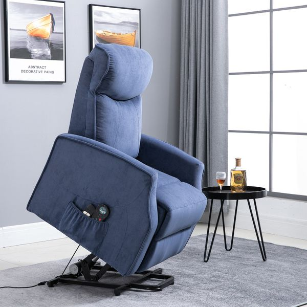 HOMCOM 8- Point Massage Sofa Electric Power  Lift Recliner Over Padded Linen Fabric