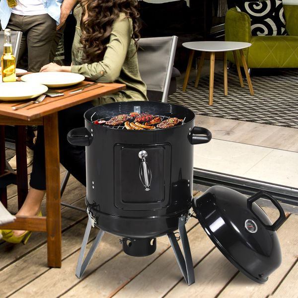 """Outsunny 16"""" Charcoal Smoker BBQ Grill for Outdoor Camping  Black"""