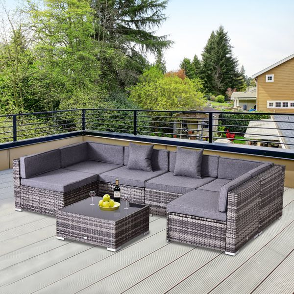 Outsunny 7pc Rattan Furniture Set w/ Side Table Patio Rattan Lounge Sofa Cushion and | Aosom Canada