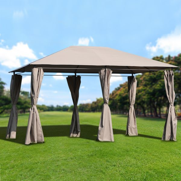 Outsunny 13' x 10' p Outdoor Patio Gazebo Pavilion Canopy Tent Steel with Curtains | Aosom Canada