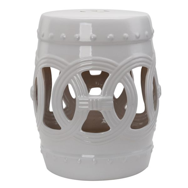 Outsunny Versatile Garden Glazed Ceramic Stool Garden Collection White|Aosom Canada