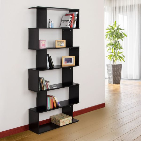 HOMCOM Wooden S Shape Bookcase 6 Shelves Storage Display Home Office Water resistant Furniture   Aosom Canada