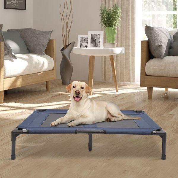 """PawHut Elevated Dog Bed 36""""x 30"""" Pet Cot Cozy Camping Sleeper Elevated Cooling with Center Support Blue   Aosom Canada"""