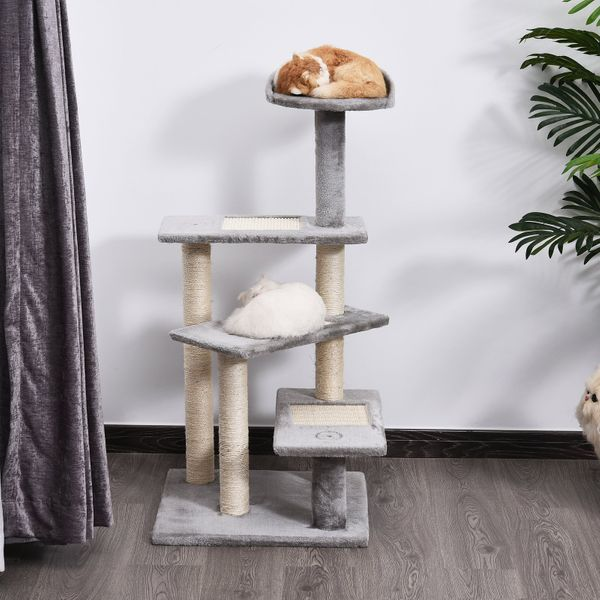 "PawHut 40"" Cat Tree 5-Level Revolving Steps Kitten Scratcher Ladder Climbing Tower Activity Play Center Rest Post Plush Perch Pet Furniture Grey