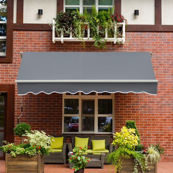 Outsunny 13'x8' Manual Retractable Patio Awning Grey|AOSOM.CA