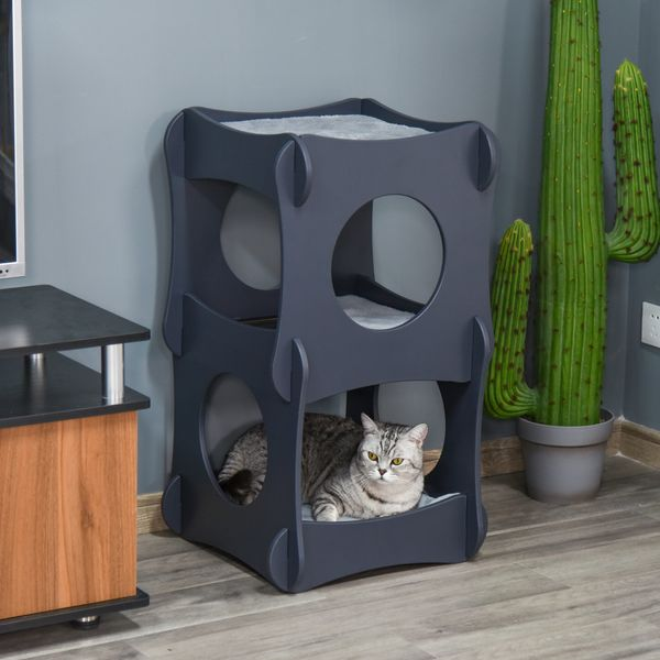 Pawhut Multi-level Wooden Cat House Kitten Bed Pet Furniture with Removable Soft Cushion for Rest and Play Easy to Assemble and Store Dark Grey w/ Assembly | Aosom Canada