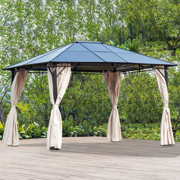 Outsunny Outdoor Party Gazebo Tent Canopy Cover BBQ Shelter Sunshade with Removable Curtains Patio PC Board Top | Aosom Canada
