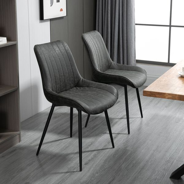 HOMCOM Dining Chairs 2 Set PU Upholstered Accent Chairs with Metal Legs for Kitchen, Grey