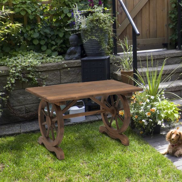 Outsunny Outdoor Garden Coffee Table Patio Display Desk Natural Fir Wood Water-Resistant Dining | Aosom Canada