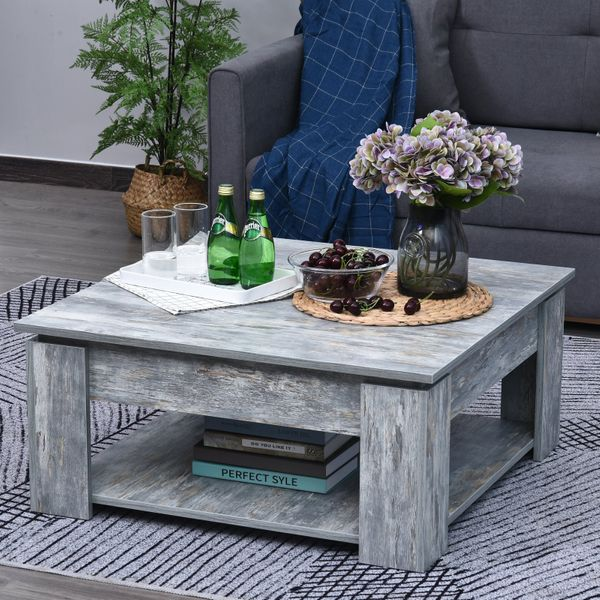 HOMCOM 2 Tier Simple Modern Coffee Table Storage Shelf Living Room Wood Grain|AOSOM.CA