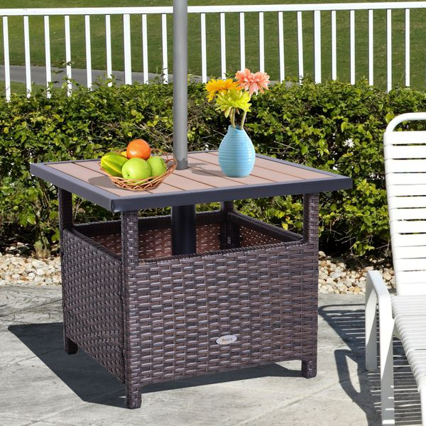 """Outsunny 22"""" Steel PE Rattan Wicker Outdoor Patio Accent Table With Umbrella Insert with 