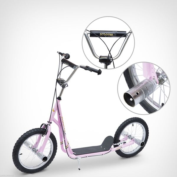 """Homcom Adult Teen Kick Scooter Children Ride On Stunt Bike Bicycle w/ 16"""" Pneumatic Tyres Pink