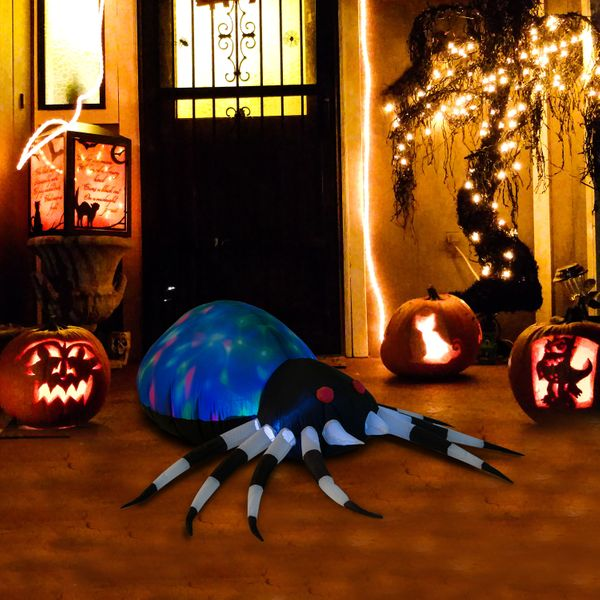 "HOMCOM 47.25"" Long Outdoor Lighted Airblown Inflatable Halloween Lawn Decoration - Giant Scary Spider