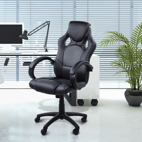 HOMCOM Racecar Styled Executive Office Chair High Back Home Computer Swivel Gaming Chair Furniture Black/Grey | Aosom Canada