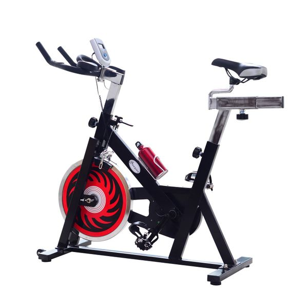 Soozier Indoor Cycling Bikes Exercise Upright Bicycle with LCD Monitor Health and Fitness Sport Cardio Pedal Cycle Belt Drive Trainer Black | Aosom Canada