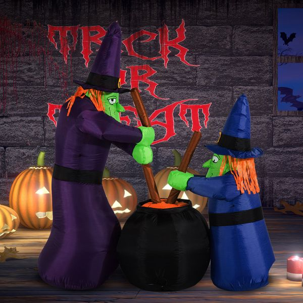 HOMCOM Outdoor Yard Colorful 6ft Blow Up Inflatable Halloween Two Old Witch and Magical Potions Decoration with LED for Indoor Outdoor House Party Display 2 | Aosom Canada