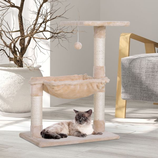 PawHut Cat Tree Hammock with Natural Sisal Scratching Post|Aosom Canada