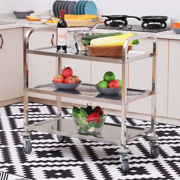 """HOMCOM 33"""" 3-Tier Kitchen Island Trolley Medical Treatment Laboratory Equipment Carts Stainless Steel Rollingᅠ Wheeled Storage Utility Serving Cart 