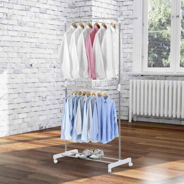 HomCom Rolling Extendable Clothes Rack Adjustable Double Rods Garment Hanger with Shoe Rack and Brake Wheels|Aosom.ca