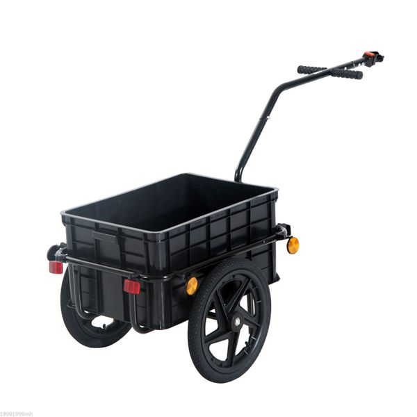 Aosom Double Wheel Internal Frame Enclosed Bicycle Cargo Trailer Multi-functional Steel Large Bike Luggage Cart Carrier Storage Runner For Shopping Black |Aosom Canada