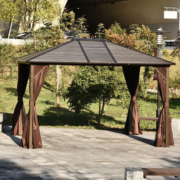 Outsunny 12x10ft Deluxe Steel Hardtop Patio Gazebo Garden Sun Shelter Aluminum Frame Heavy Duty Outdoor Pavilion with Curtains and Mesh Netting | Aosom Canada