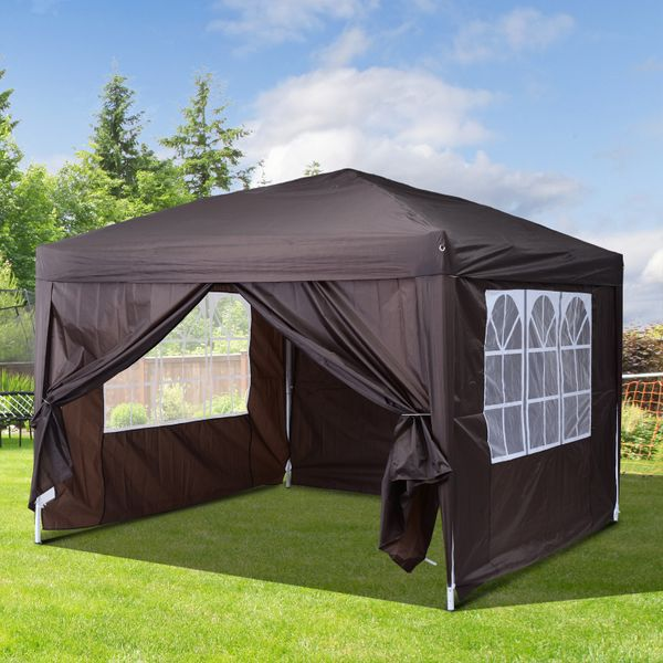 Outsunny 10x10ft Folding Tent Gazebo Portable Easy Pop Up Party Wedding Outdoor Sunshade Canopy  with Sidewalls Coffee | Aosom Canada