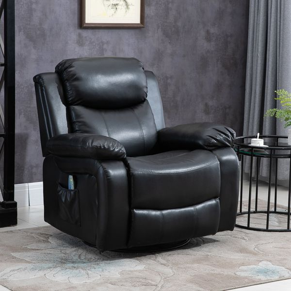 HOMCOM Deluxe Electronic Heated Massage Sofa Recliner Chair Leather Lounge Black | Aosom Canada