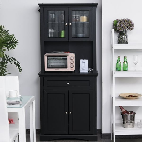 HOMCOM Traditional Freestanding Kitchen Pantry Cabinet Cupboard with Doors  Adjustable Shelving Black Wooden | Aosom Canada