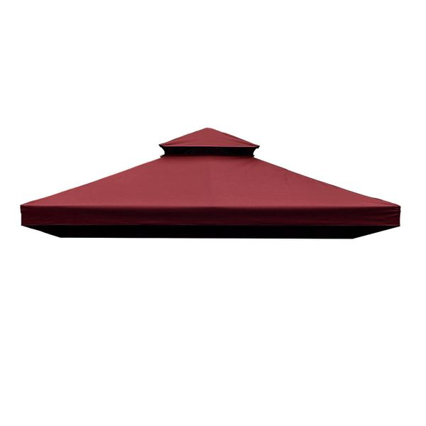 Outsunny 9.84'x9.84' Square 2 Tier Gazebo Canopy Replacement Water-resistant UV Protected Wine Red