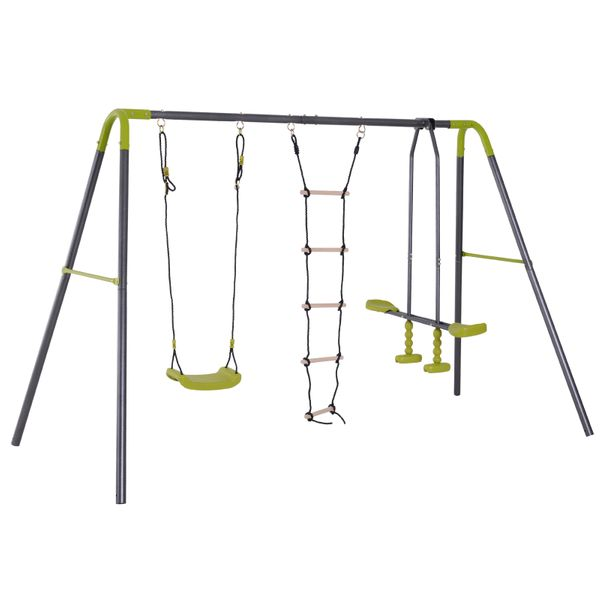 HOMCOM 3 in 1 Kids Swing Set, Double Face to Face Swing Chair & Glider Set, Climbing Ladder A-Frame Outdoor Heavy Duty Metal Swing Set|Aosom Canada