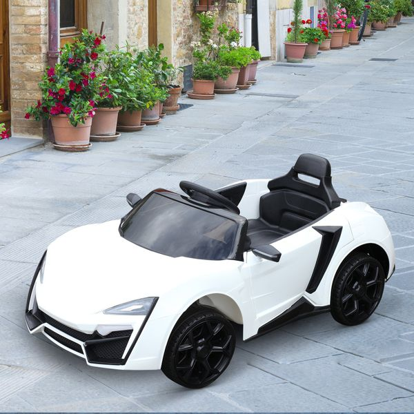 Aosom Ride On Car for Kids 6V with Remote Control Battery Powered High/Low Speed with Headlight Music and Remote Control For Children Ages 3-8 White | Aosom Canada