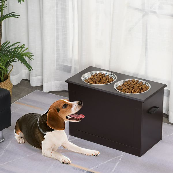 PawHut Raised Pet Bowls with Storage Function 2 Stainless Steel Dog Bowls Elevated Base for Large Dogs and Other Large Pet Dark Brown w/ | Aosom Canada