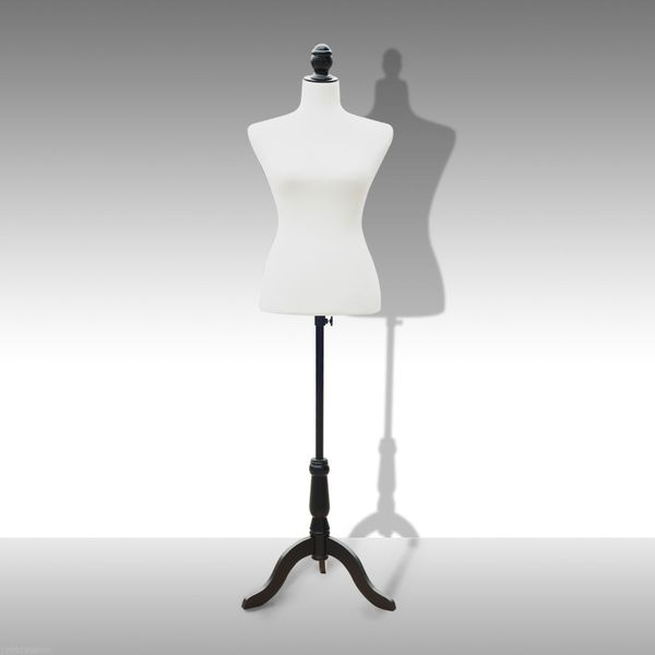 HOMCOM Female Mannequin Dress Form Torso Dressmaker Stand Display Fashion Clothing w/ Base Tailor Tripod White M  | Aosom Canada