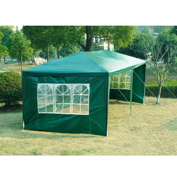Outsunny 10' x 20' Wedding Party Tent Outdoor Event Camping Gazebo Canopy with 4 Removable Sidewalls (Green) | Aosom Canada
