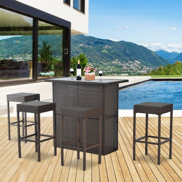 Outsunny 5pcs  Dining Rattan Garden Bar Set Wicker Barstool and Table Outdoor Patio Furniture Dark Brown | Aosom Canada